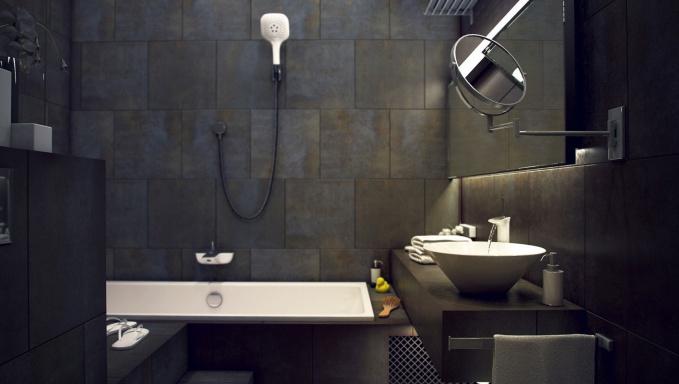 Ванная комната выполнена в черной и