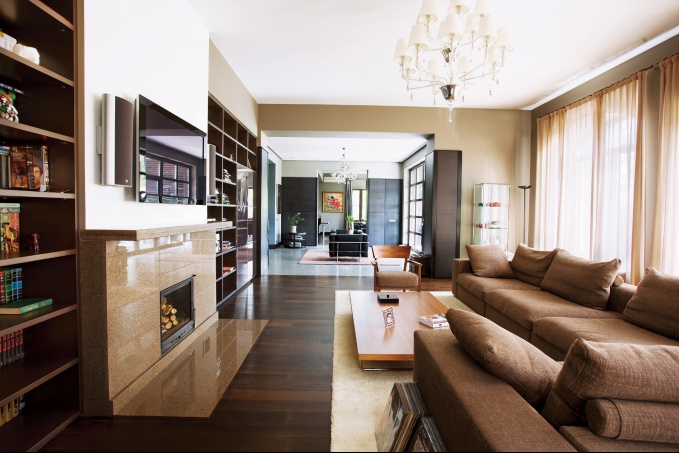 Дизайн гостиной в бежевых тонах фото
