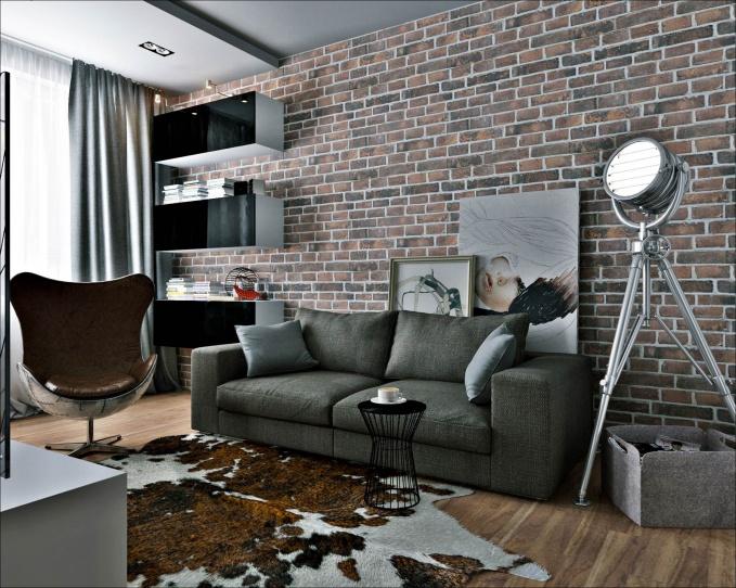 настоящий мужской интерьер маленькой квартиры студии в стиле лофт
